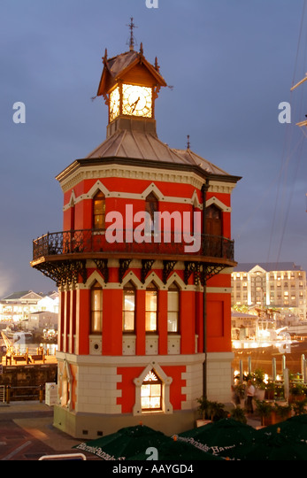 south africa cape town Victoria Albert waterfront clock tower twilight - Stock Image