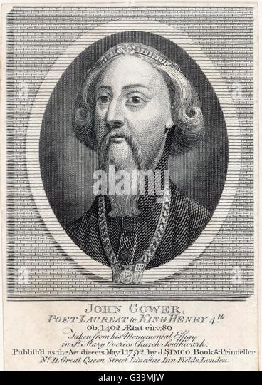 JOHN GOWER  English poet, friend of Chaucer       Date: 1325 - 1408 - Stock Image