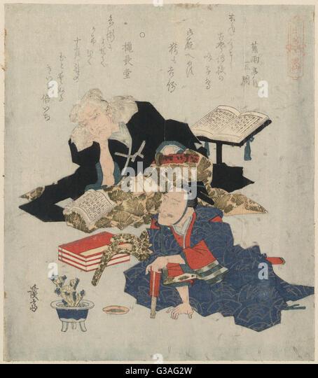 Kiichi Hogen and Oumaya Kisanda. Print shows two poets. Date 1829. - Stock Image
