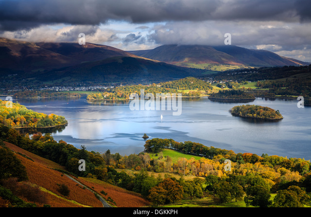 View over Derwent Water from Cat Bells near Keswick. - Stock Image