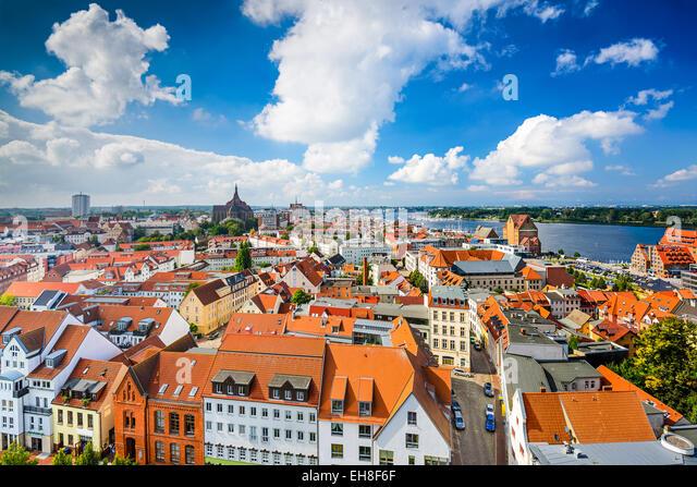 Rostock, Germany old city skyline. - Stock Image