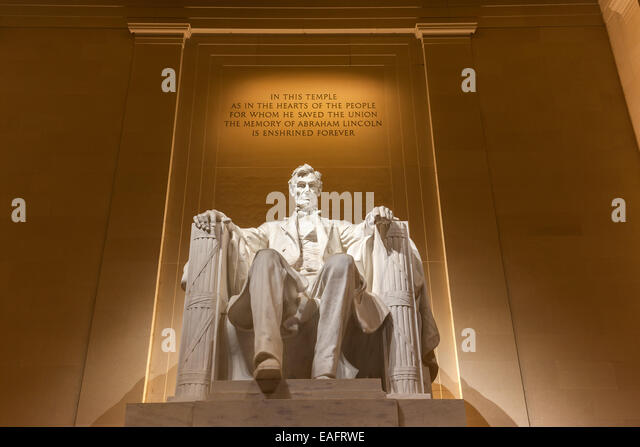 The Lincoln Memorial is an American national monument built to honor the 16th President of the United States, Abraham - Stock Image
