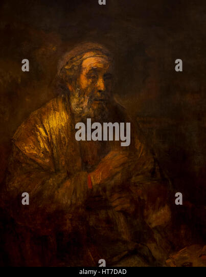 Homer, by Rembrandt, 1663, Royal Art Gallery, Mauritshuis Museum, The Hague, Netherlands, Europe - Stock Image