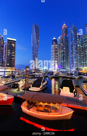 Dubai Marina at night. - Stock Image