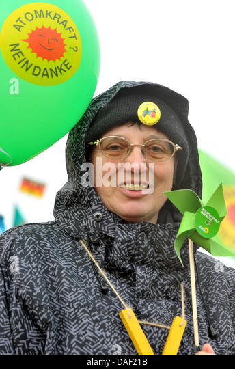 An anti-nuclear activists takes part in a political rally against the castor nuclear transport near Dannenberg, - Stock Image