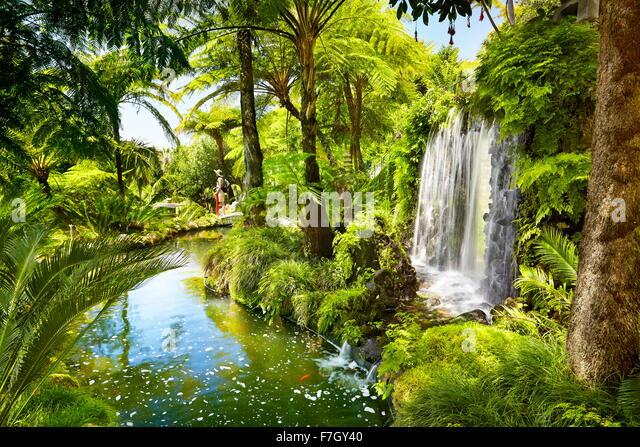 Monte Palace Tropical Garden (Japanese garden) - Funchal, Monte, Madeira Island, Portugal - Stock Image