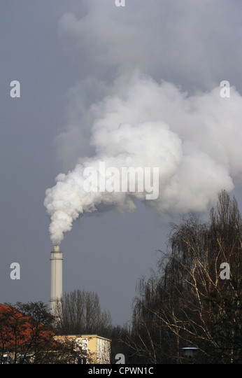 Pollution. Smoke from an industry's chimney. Berlín. Germany. - Stock Image