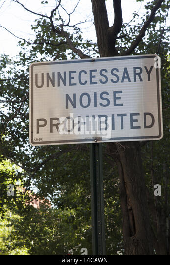 Sign posted on 5th Avenue near Washington Square in Manhattan to address noise pollution. - Stock Image
