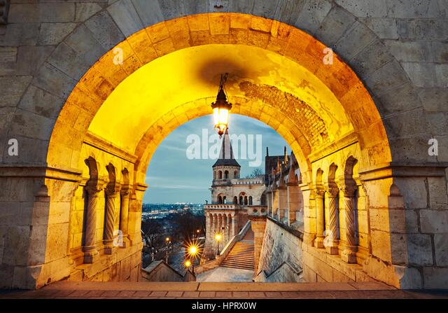 Fisherman's Bastion - dawn in Budapest, Hungary - Stock Image
