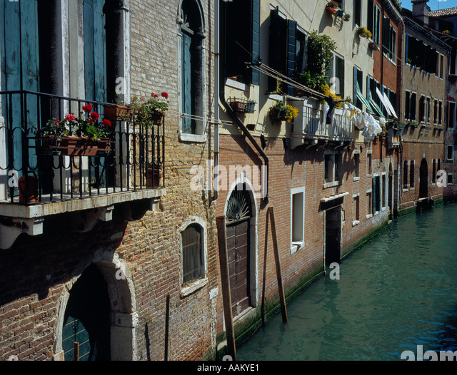 Canal in Venice Italy Europe. Photo by Willy Matheisl - Stock Image