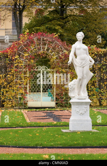 The Catherine Park,Tsarskoye Selo,Pushkin, near St. Petersburg, Russia, Europe, classical statues - Stock Image