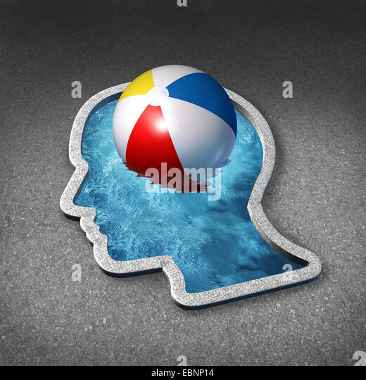 Leisure thinking concept and mental relaxation symbol as a swimming pool shaped as a human face with a beach ball - Stock-Bilder