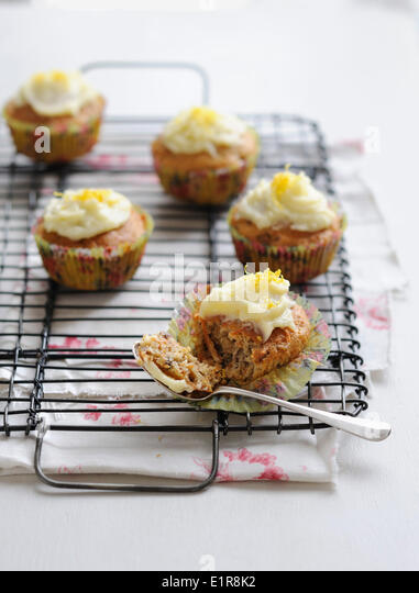 Carrot cupcakes - Stock Image