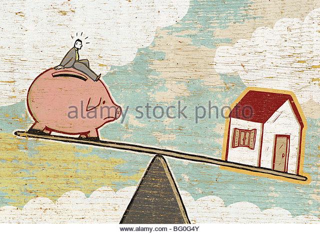Savings Versus Mortgage - Stock-Bilder