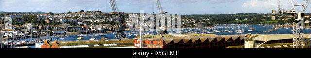 View of Falmouth and the docks from Pendennis Rise, Falmouth, Cornwall - Stock Image
