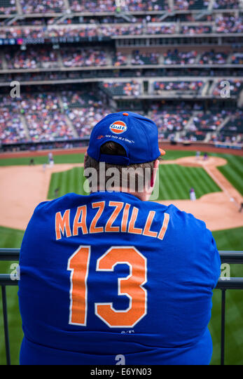 A New York Mets Fan watches his team during a Baseball game at Citi Field Stadium, New York. - Stock Image