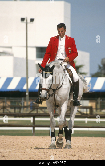 jumping rider Otto Becker with Cento. - Stock Image