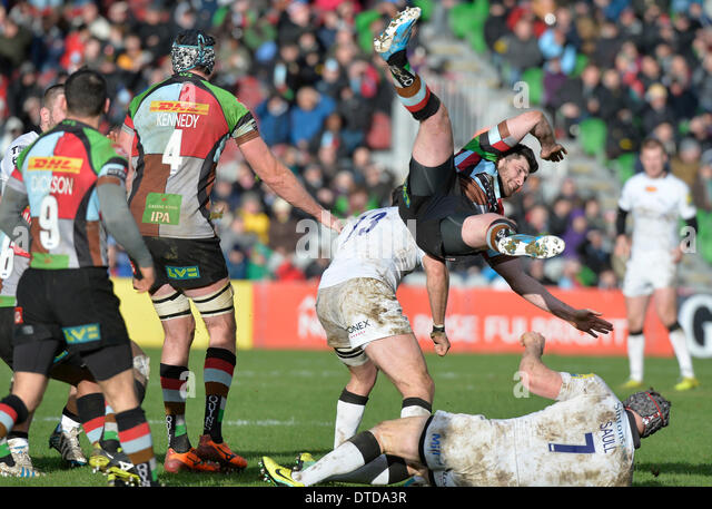 Twickenham, UK . 15th Feb, 2014. AVIVA Rugby Premier League Harlequins v Newcastle Falcons at the Stoop Twickenham - Stock Image