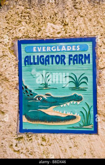 Everglades Alligator Farm sign Homestead Florida old time Florida landmark attraction - Stock Image