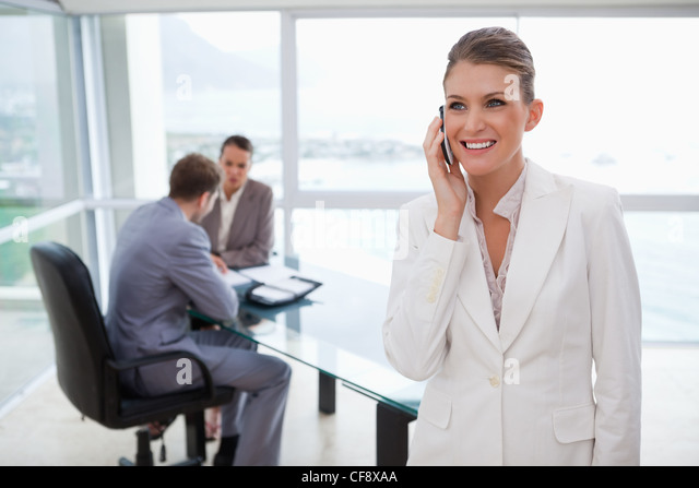 Marketing manager on the phone - Stock Image