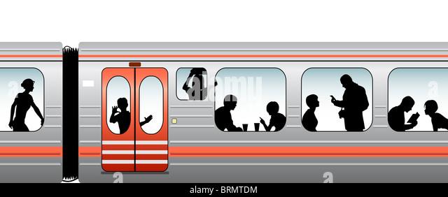 Editable vector illustration of passengers on a train - Stock Image