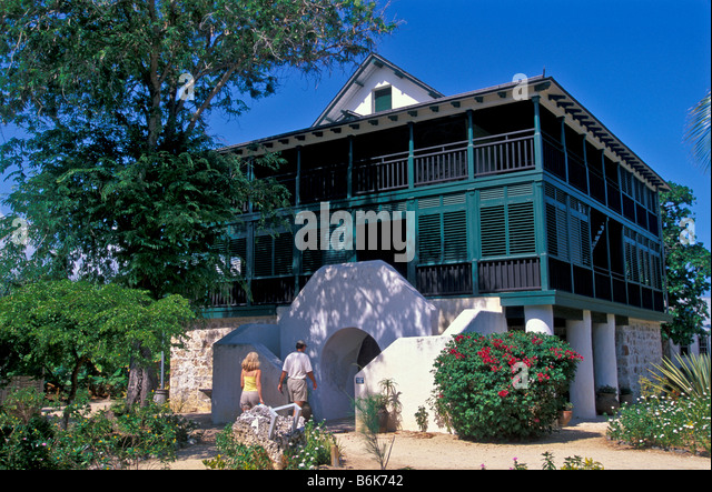 Grand Cayman Pedro St James National Historic Site Tourists at Great House Living Heritage Museum - Stock Image