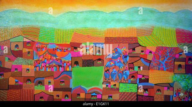 Manuel D. Baldemor, Procession, 1992. Acrylic impasto. - Stock Image