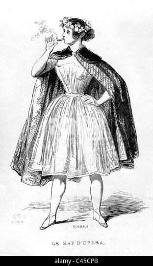 Smoking woman, 19 Century - Stock Image