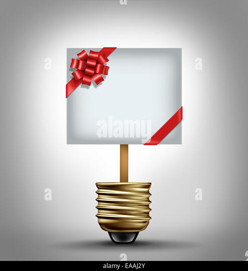 Gift concept as an open lightbulb with a red ribbon bow decorated sign as holiday shopping ideas symbol and buying - Stock-Bilder