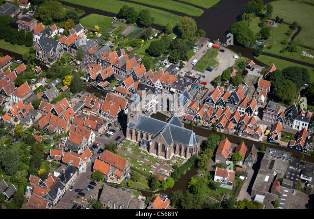 The Netherlands, De Rijp, Centre of village. Aerial. - Stock Image