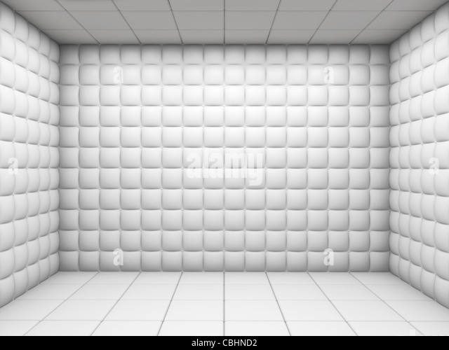 white mental hospital padded room empty with copy space - Stock-Bilder