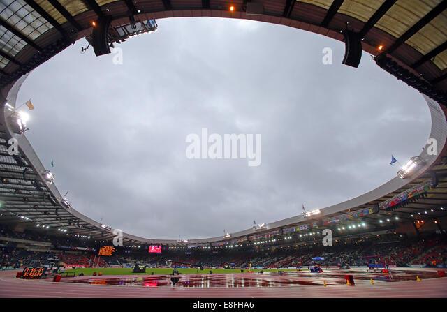 GV of a rainy Hampden Park, Glasgow. Athletics - Hampden Park - Glasgow - UK - 02/08/2014 - Commonwealth Games  - Stock Image