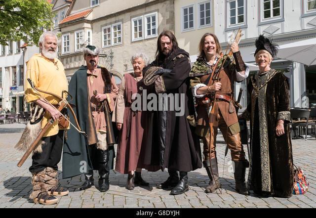 Actors of the figures Wilhelm Tell(l-r), Der Freiherr von Attinghausen, Tells wife Hedwig, the Sheriff of - Stock Image