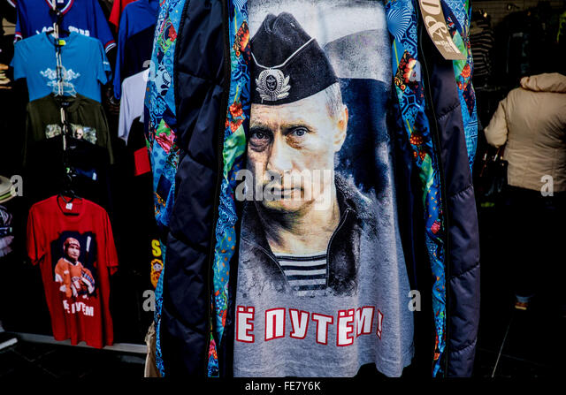 Image of Vladimir Ptuin on a T-shirt in the city of Sochi, Russia - Stock Image