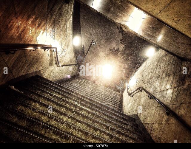 London subway stairs - Stock Image
