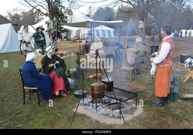 A reenactment of the Battle of Cowpens in the American Revolutionary War at the Cowpens Battleground in Cowpens, - Stock Image