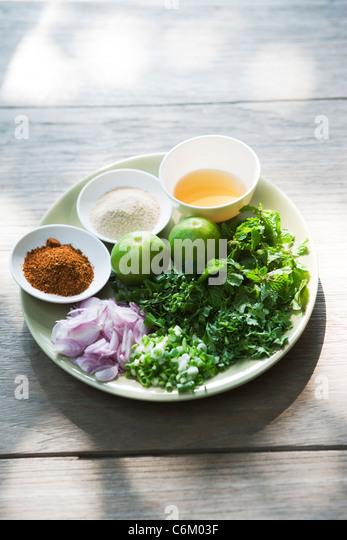 Pork salad with mint, ingredients - Stock Image
