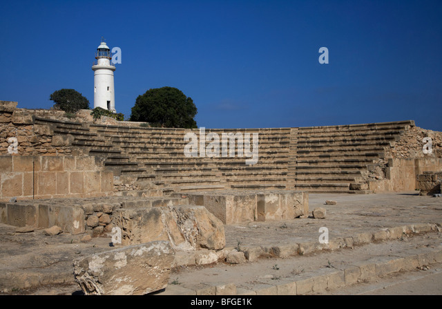 ancient roman odeon theatre with paphos lighthouse republic of cyprus europe - Stock Image