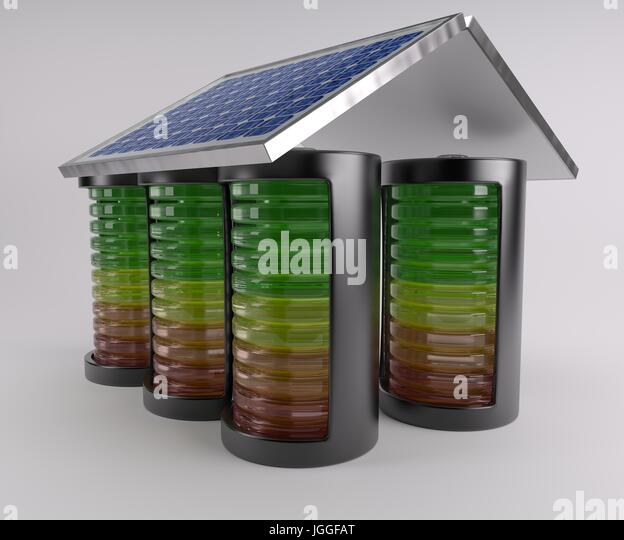 3D Render of Battery Solar Charge Levels - Stock Image