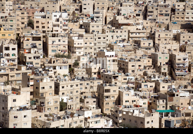 Buildings in the sprawling city of Amman seen from the citadel, Jordan, Middle East - Stock Image