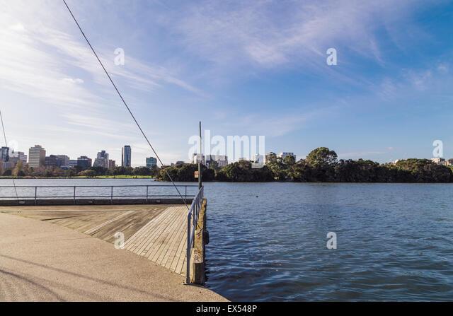 Albert Park Lake, Melbourne, Victoria, Australia, looking towards St Kilda Rd - Stock Image