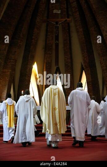 Catholic Mass, St. Anne's Basilica, Brazzaville, Congo, Africa - Stock Image