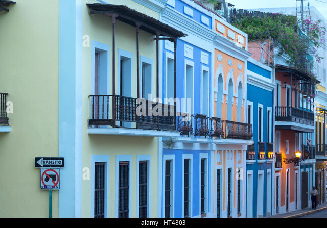 COLORFUL PAINTED BUILDINGS CALLE SAN JOSE OLD TOWN SAN JUAN PUERTO RICO - Stock Image