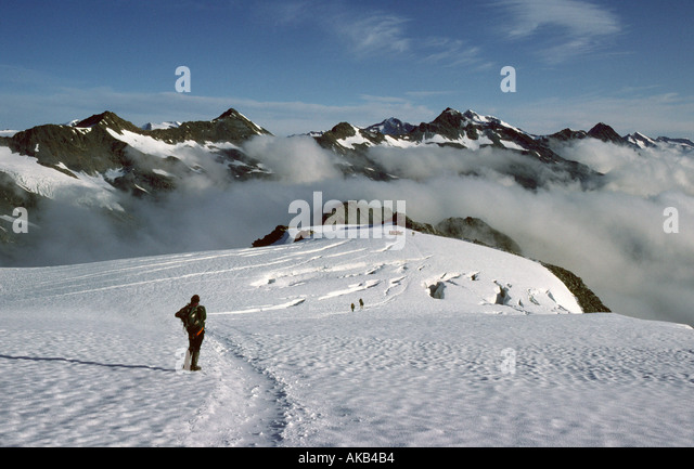 On the Niederjoch glacier, Ötztal Alps, Austria - Stock Image