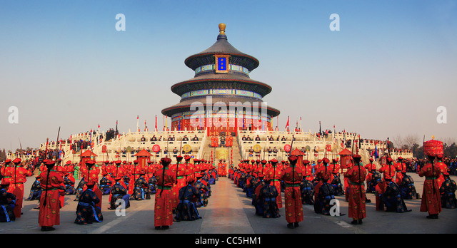 Worshipping Heaven Ceremony at Temple of Heaven, Beijing, China - Stock Image