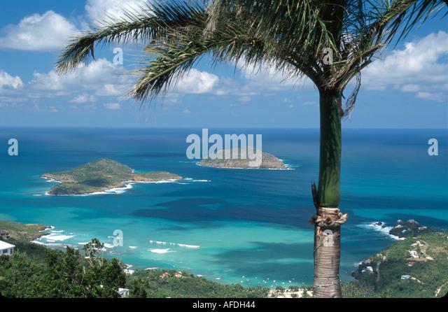 US Virgin Islands St. Thomas Hull Bay Inner & Outer Brass Islands view from St. Peter Botanical Gardens USVI021 - Stock Image