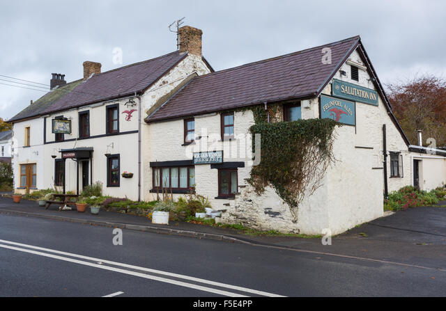 The Salutation Inn on the A40 in Pontargothi, Carmarthenshire - its supposed eight ghosts make it the most haunted - Stock Image
