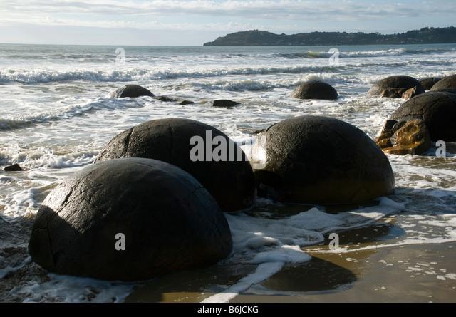 The Moeraki Boulders, Otago Coast, South Island, New Zealand - Stock Image