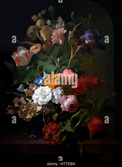 Vase of Flowers, by Rachel Ruysch, 1700, Royal Art Gallery, Mauritshuis Museum, The Hague, Netherlands, Europe - Stock Image