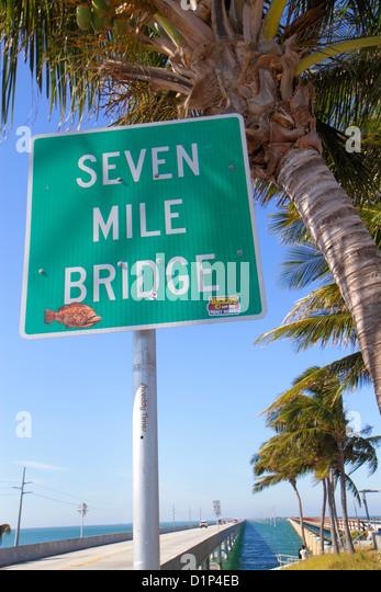 Florida Florida Keys US Route 1 One Overseas Highway Vaca Key Marathon New Old Sevenmile Seven Mile Historic Bridge - Stock Image